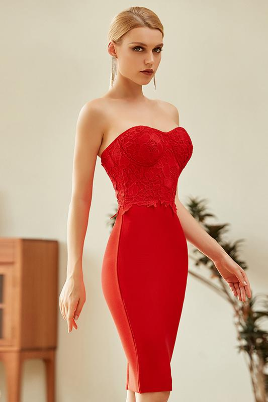Tusare Red Lace Mini Bandage Dress