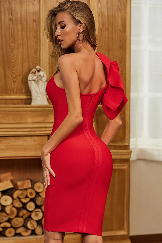 Leko One Shoulder Mini Bandage Dress