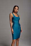 Denese Scoop Neck Bandage Dress - Teal -- Bellabarnett
