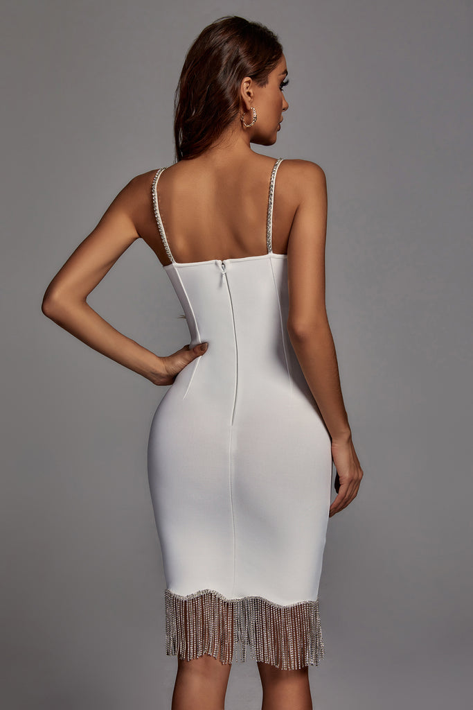 Calypso Crystal Embellished Bandage Dress - White -- Bellabarnett