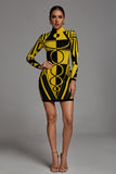 Ainslie Long Sleeve Bandage Dress - Yellow -- Bellabarnett