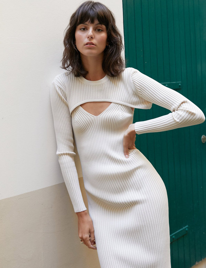 White Knit Dress Set