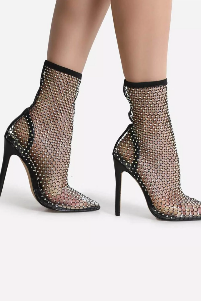 Crystal Fishnet Short Sock Boots -- Bellabarnett