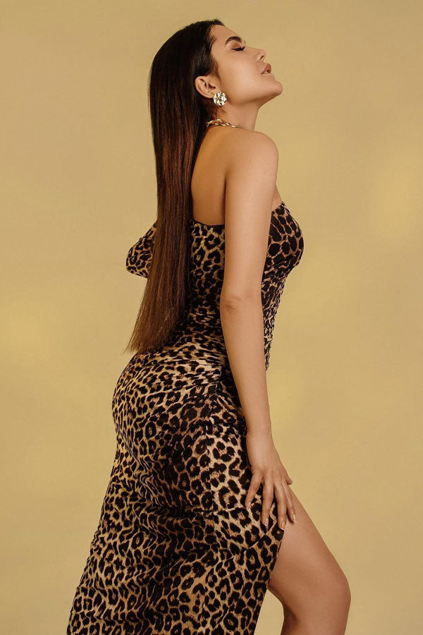 Damo Leopard One Shoulder Midi Dress