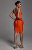 Denese Scoop Neck Bandage Dress - Orange -- Bellabarnett