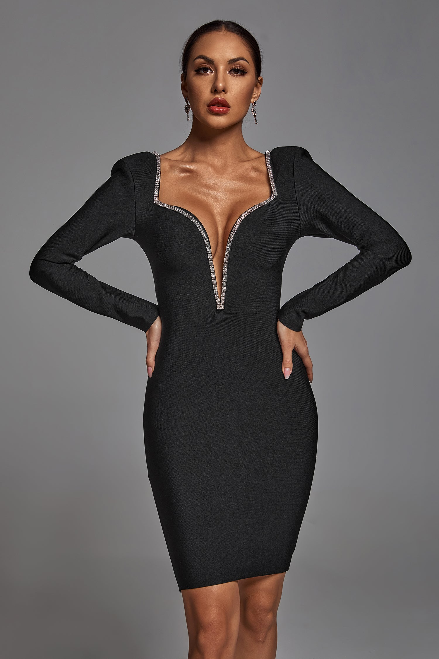 Edmee Crystal Plunge Bandage Dress -S- Bellabarnett