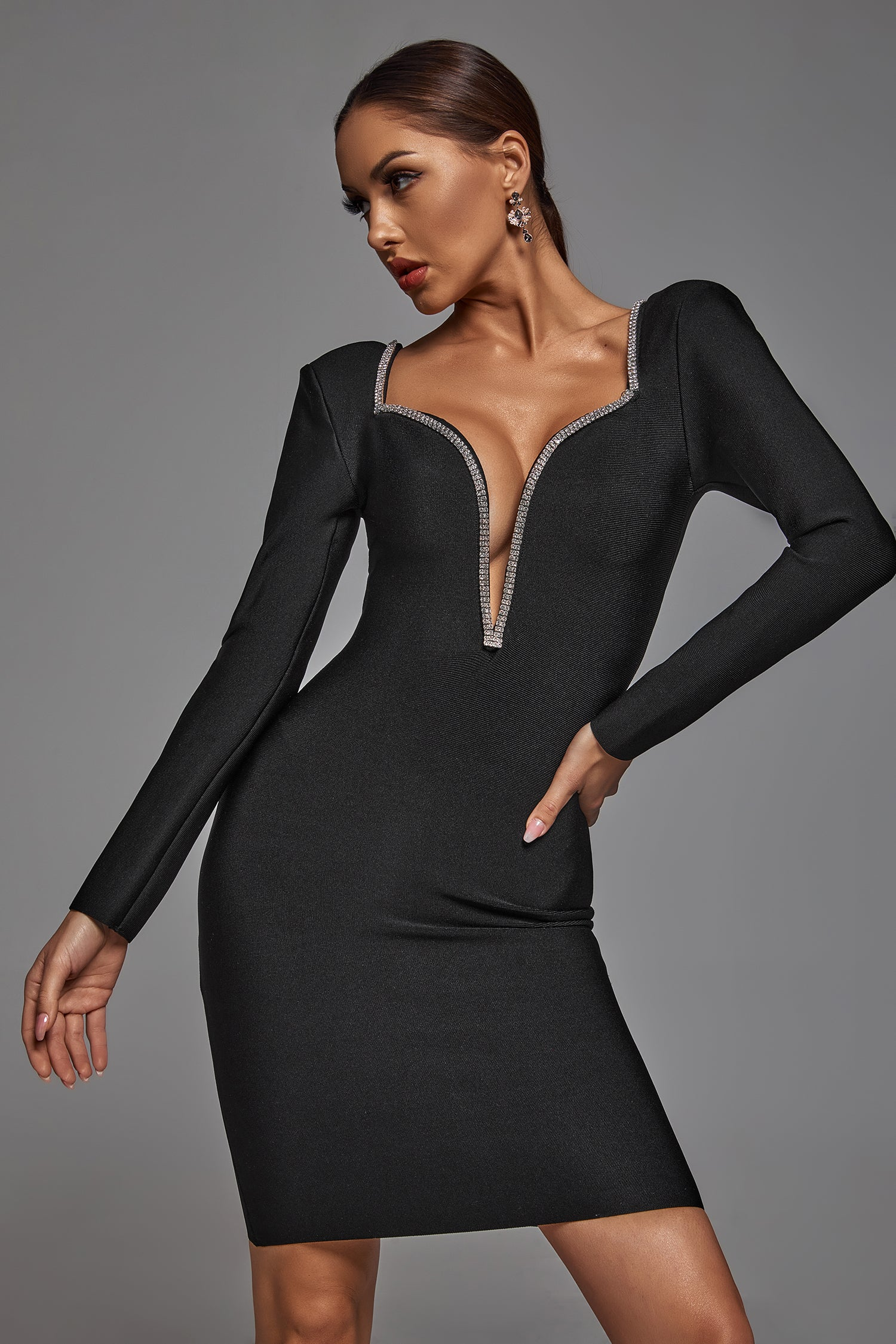 Edmee Crystal Plunge Bandage Dress -- Bellabarnett