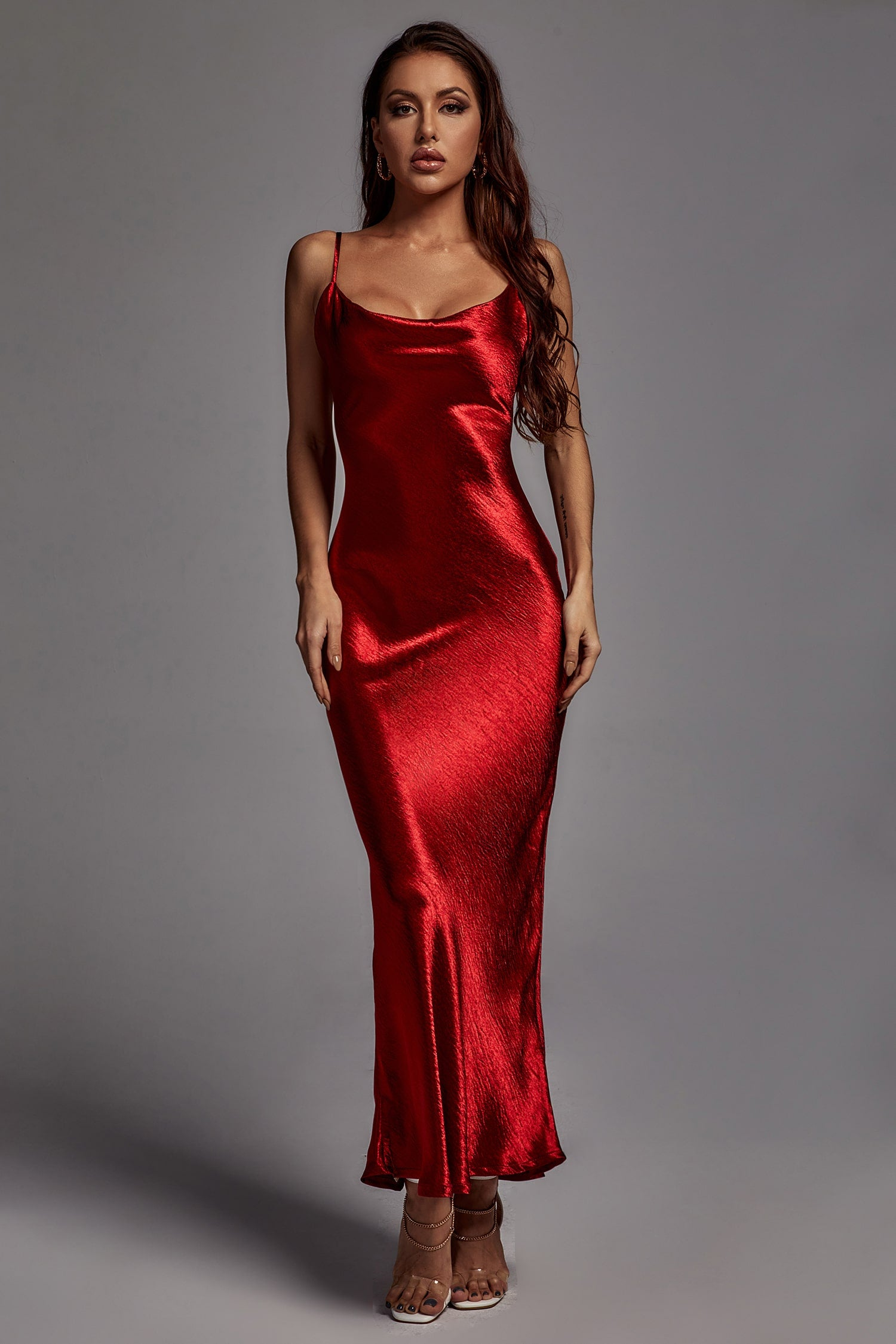 Emily Metallic Maxi Dress - Wine -- Bellabarnett