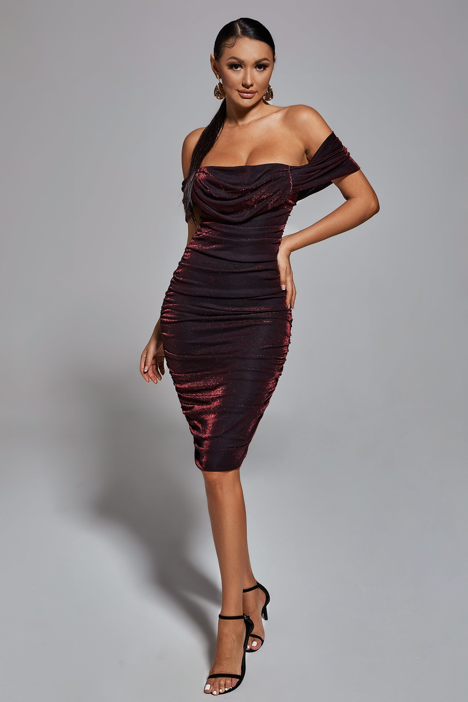 Octavia Sparkle Midi Dress - Wine