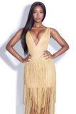 Golden Fringed Bandage Dress
