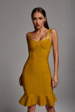 Jamie Ochre Bandage Dress -- Bellabarnett