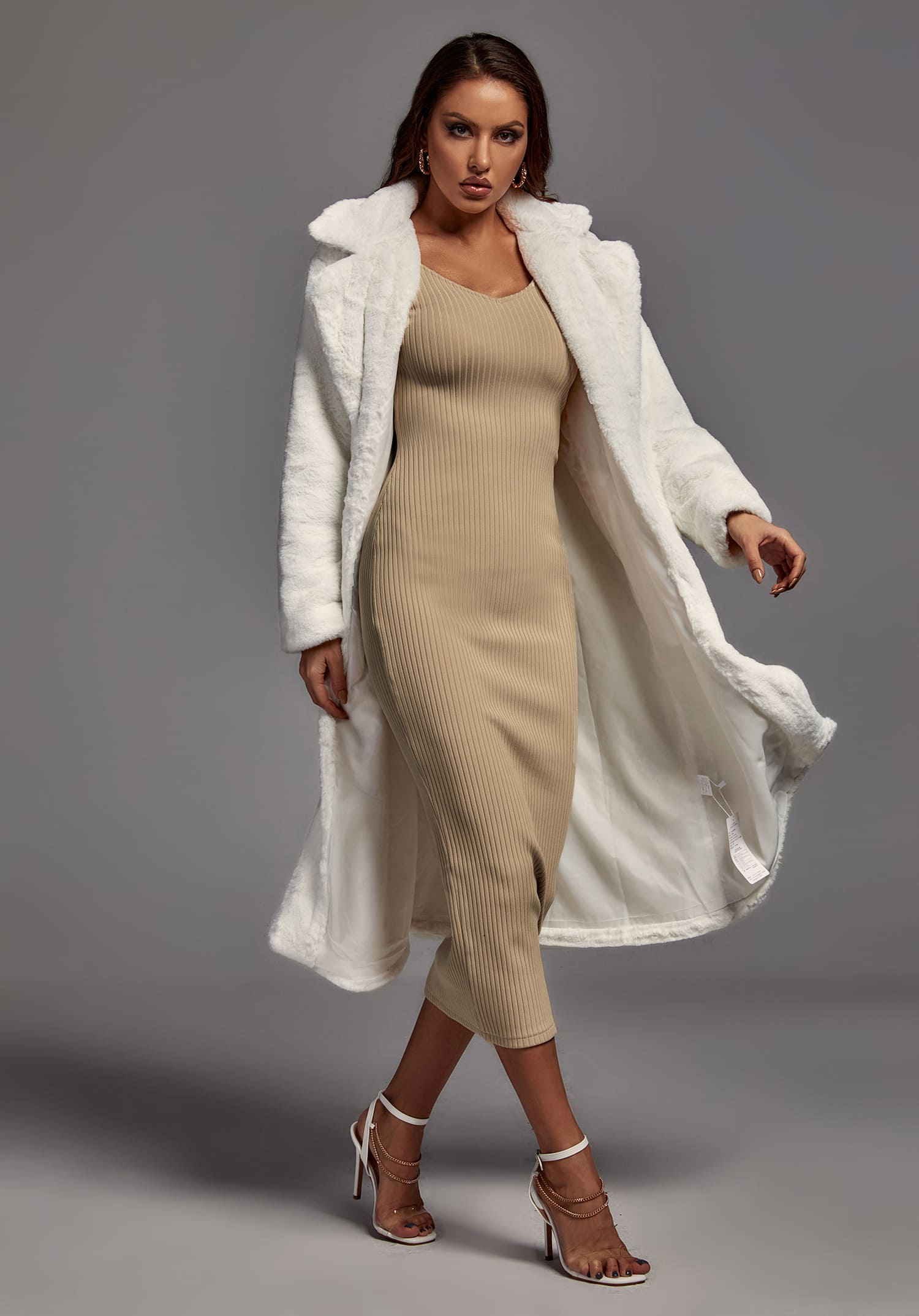 Juno Fuax Fur Coat In White -- Bellabarnett