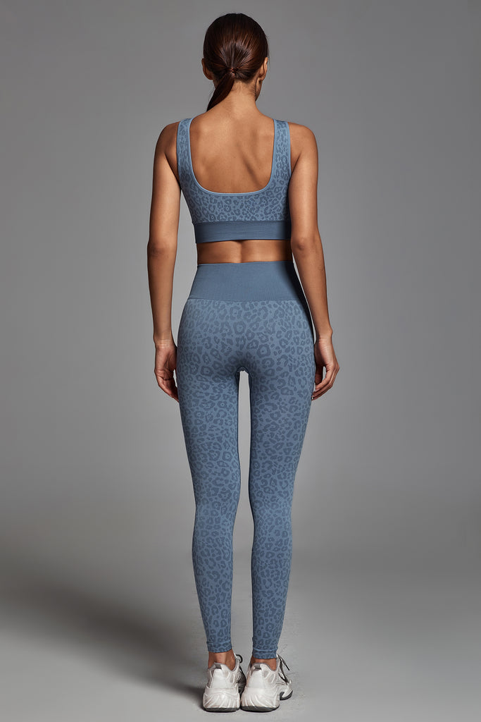 Leopard Yoga Set - Blue -- Bellabarnett
