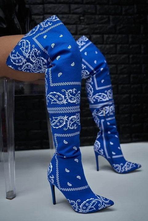 Paisley Thigh High Boots -- Bellabarnett