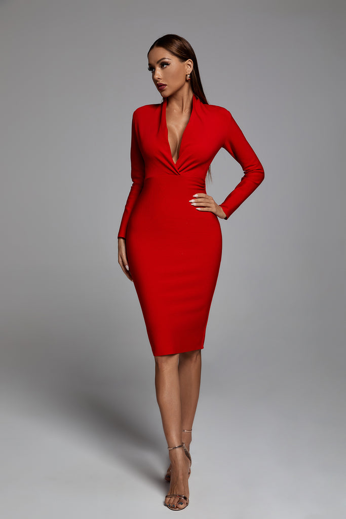 Persephone Bandage Dress - Red - bellabarnett