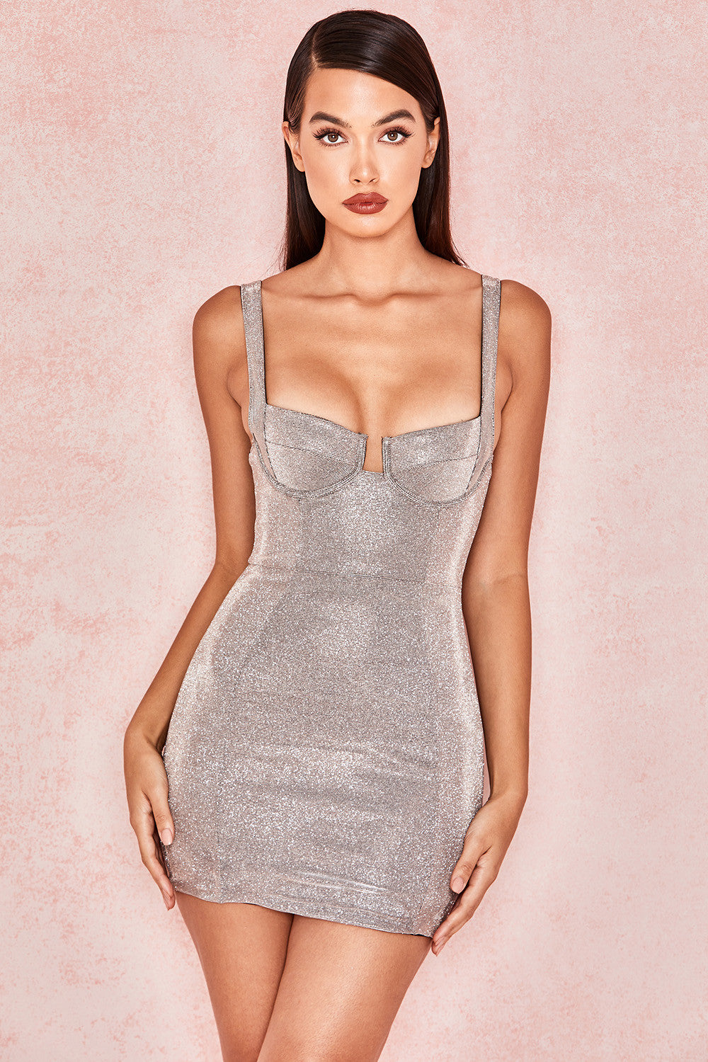 Secyij Silver Sparkly Mini Dress