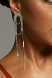 Silver Diamante Tassel Earrings -- Bellabarnett