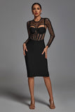 Thalia Cut out Split Dress - Black -- Bellabarnett
