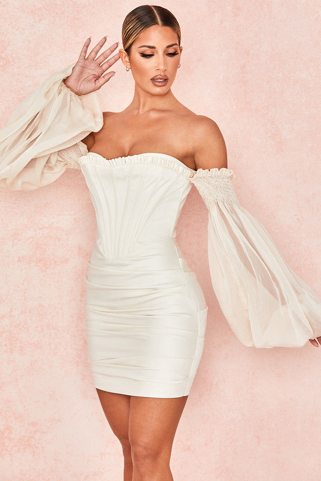 Willi Off Shoulder Satin Corset Dress - White