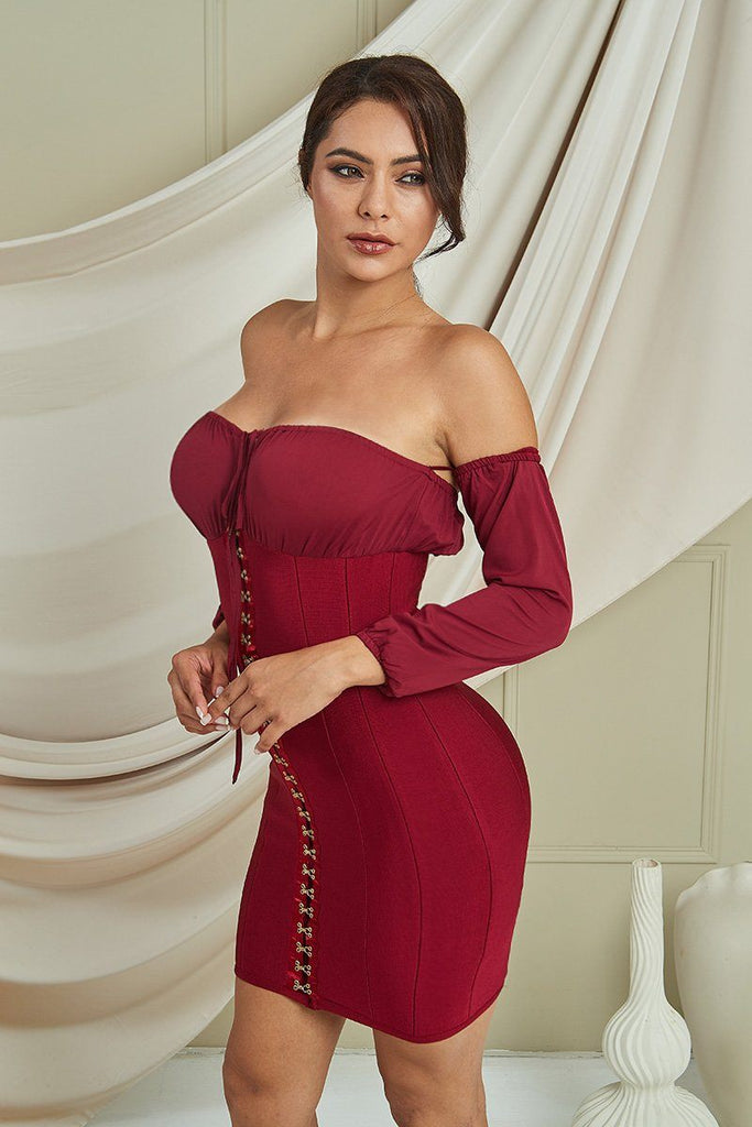 Carly Corset Bandage Dress In Red -- Bellabarnett