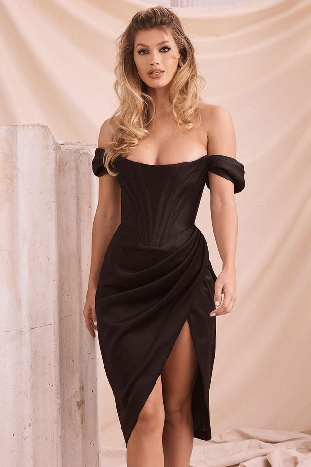 Colette Off Shoulder Satin Dress - Black -- Bellabarnett