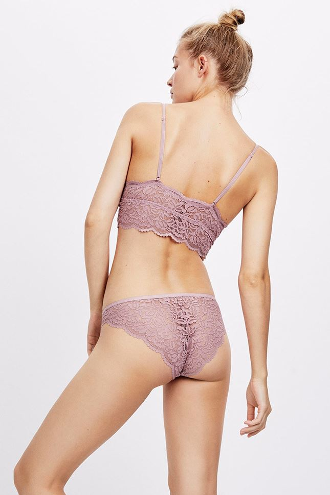 Eloise Lace Set with Longline Bralette - Lilac -- Bellabarnett