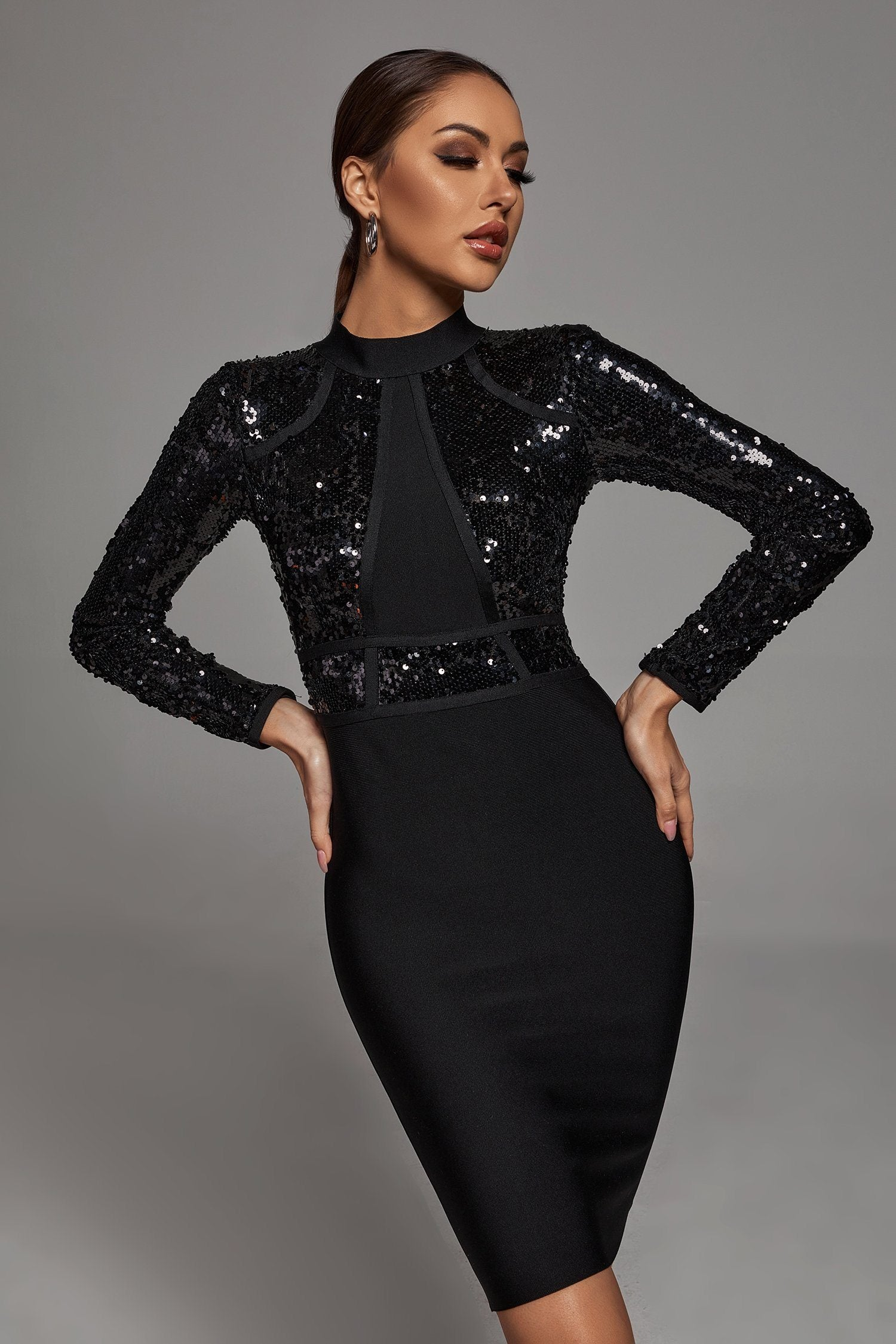 Farah Sequin Long Sleeve Bandage Dress -- Bellabarnett