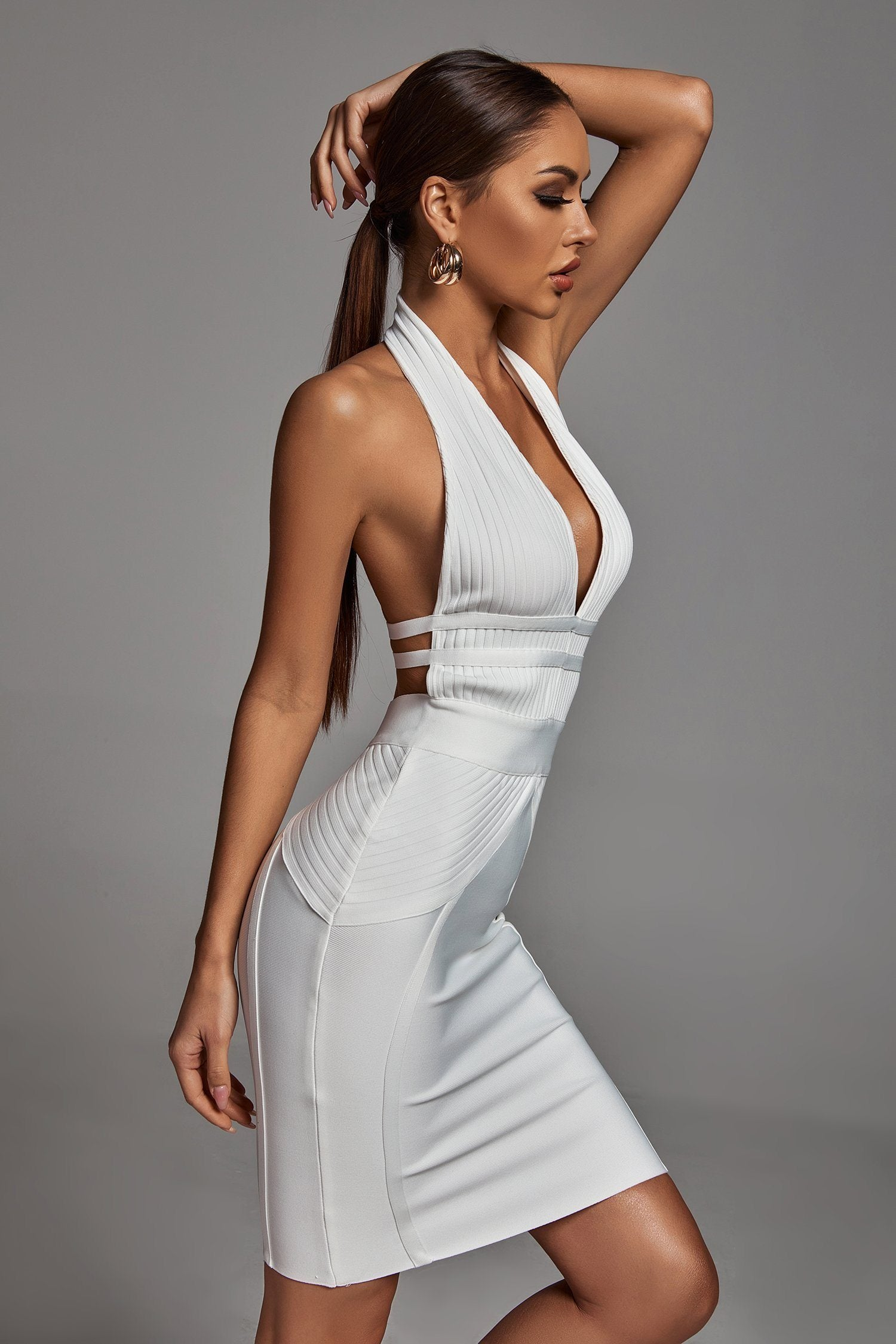 Griselda Halterneck White Bandage Dress -- Bellabarnett