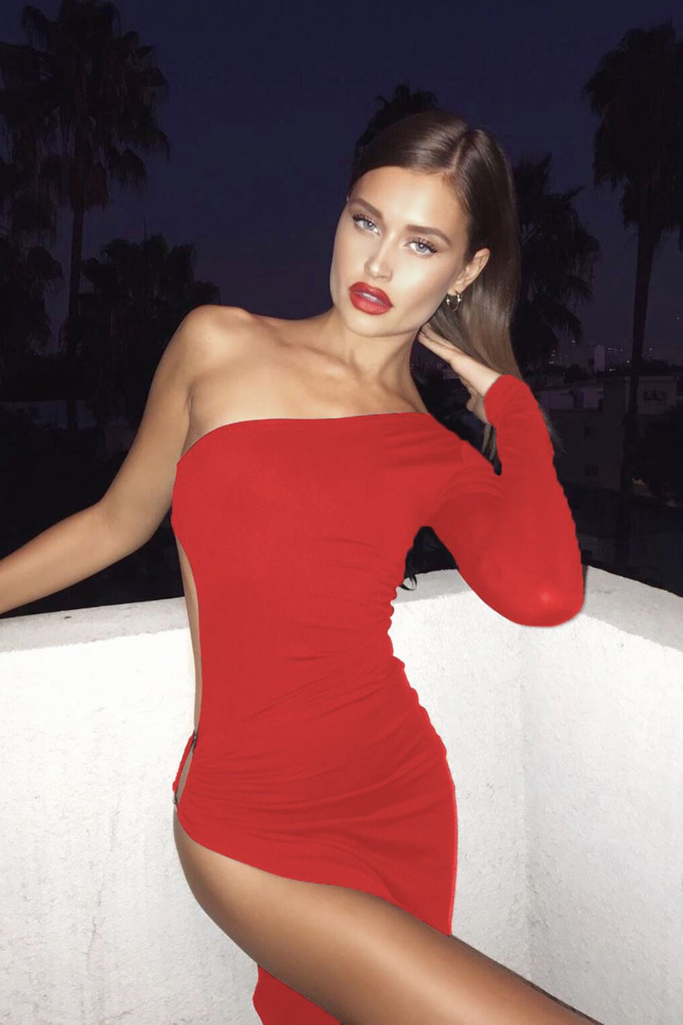 Haven Cut Out Ring Slit One Shoulder Dress - Red -- Bellabarnett