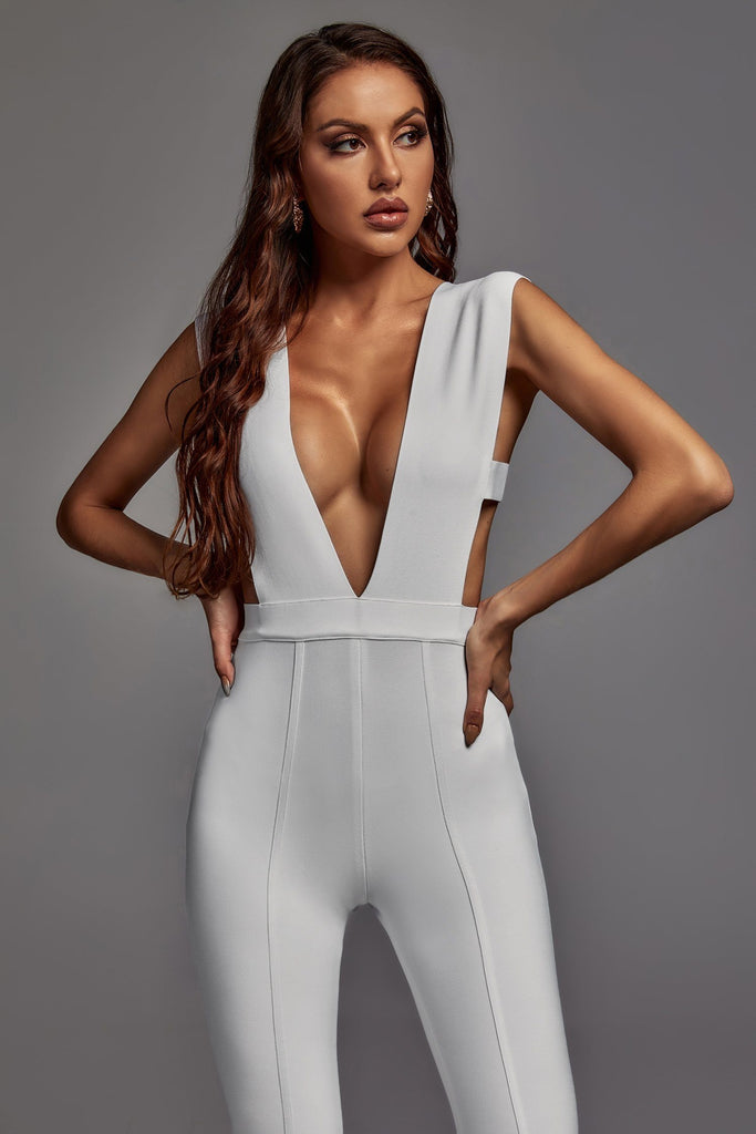 Ingrid Bandage Jumpsuit In White -- Bellabarnett
