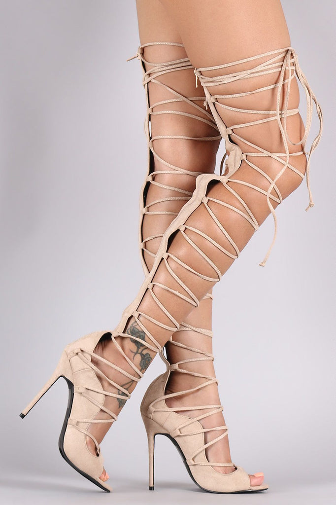 Krystal Lace-Up Heels -Beige- Bellabarnett