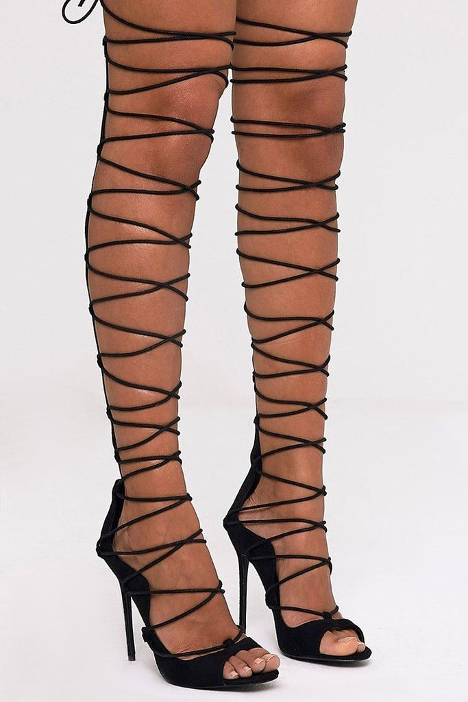 Krystal Lace-Up Heels -Black- Bellabarnett