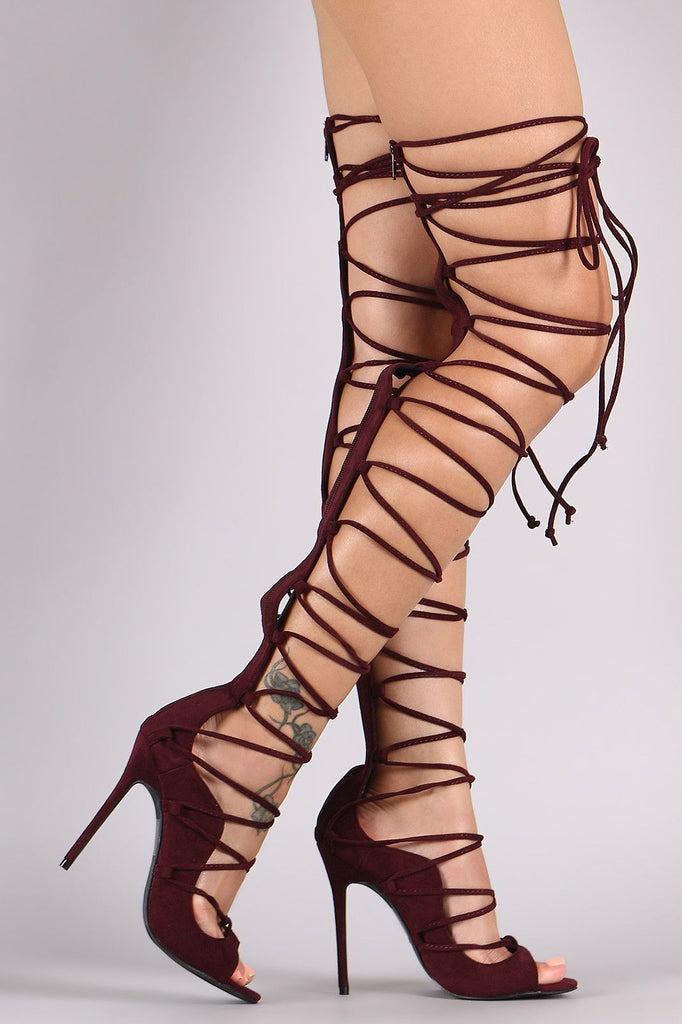 Krystal Lace-Up Heels -Wine- Bellabarnett