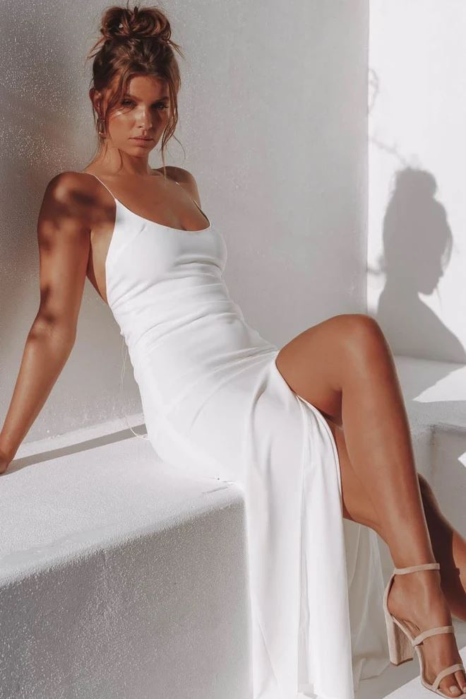Lita Slip Dress White -- Bellabarnett