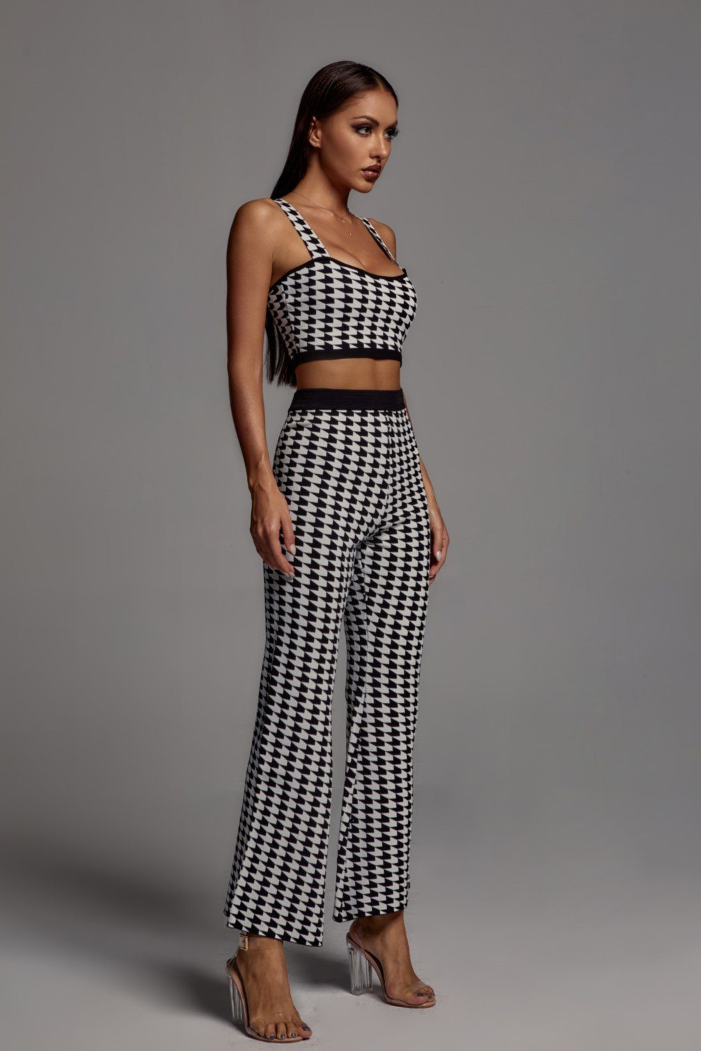 Mallory Houndstooth Crop Set -- Bellabarnett