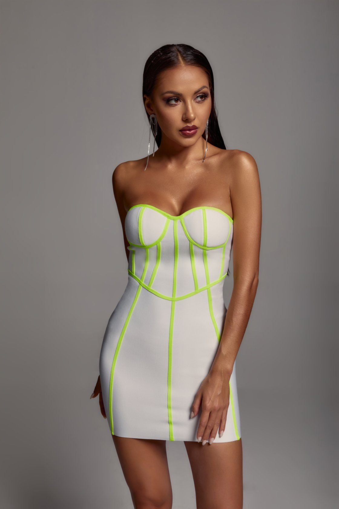 Neon Green Trim White Bandage Mini Dress -- Bellabarnett