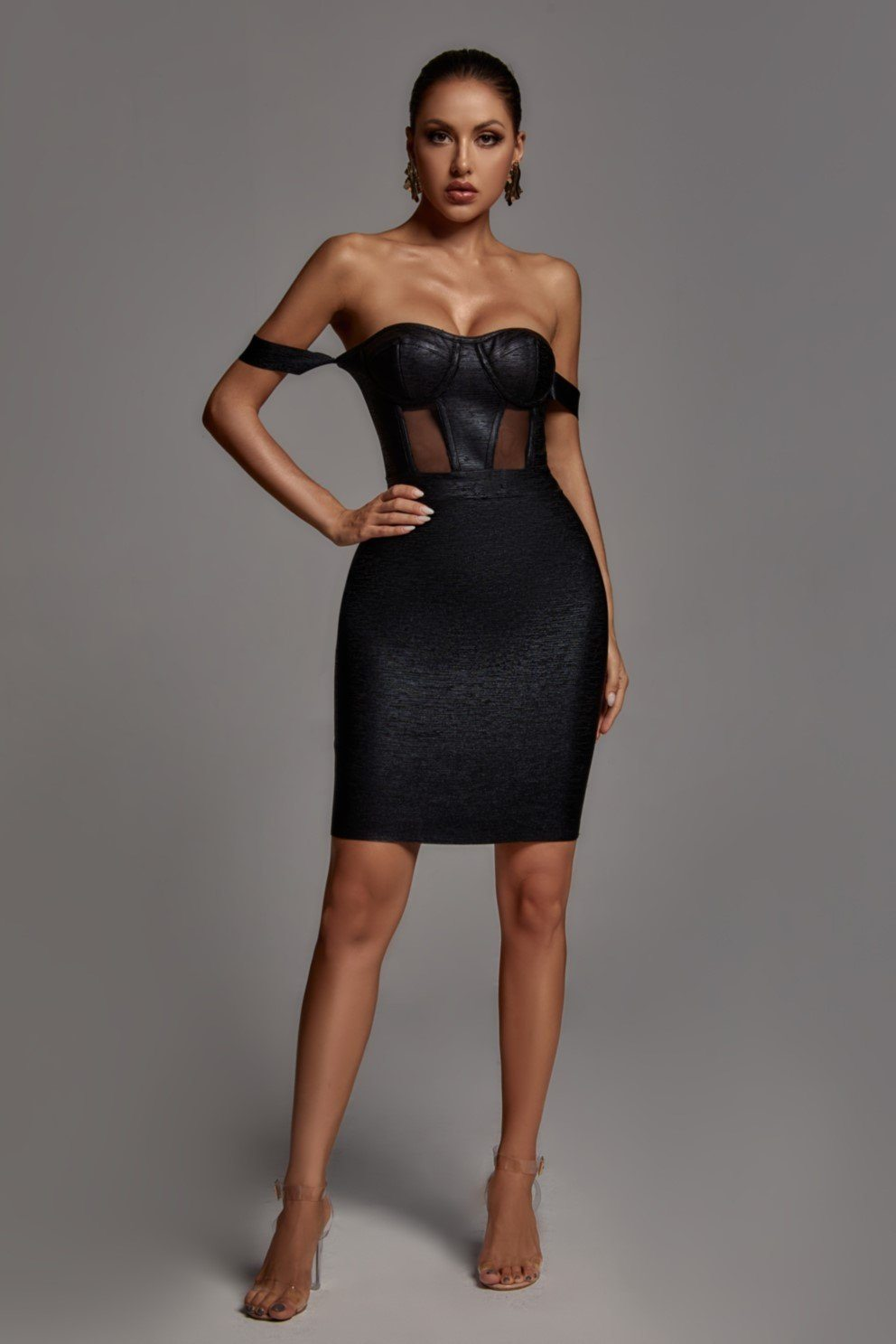 Sakari Off Shoulder Black Metallic Bandage Dress -- Bellabarnett