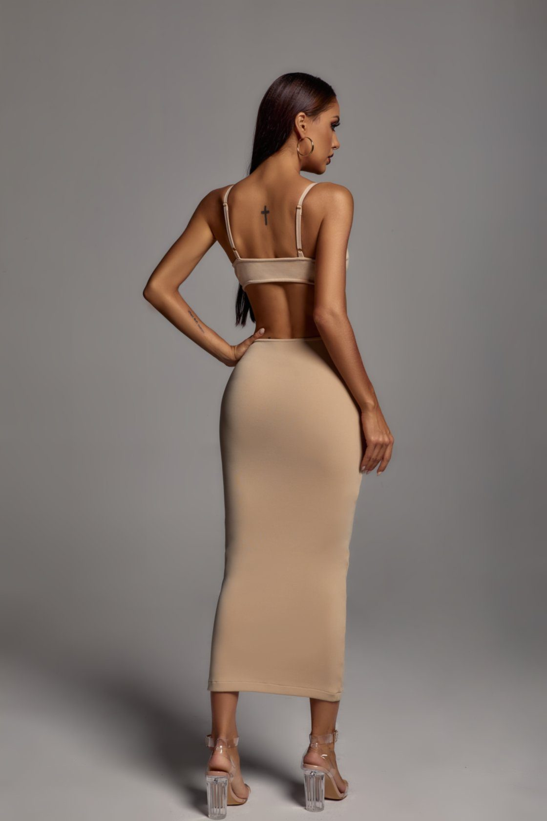 Salim Cut-out Maxi Dress - Sand -- Bellabarnett