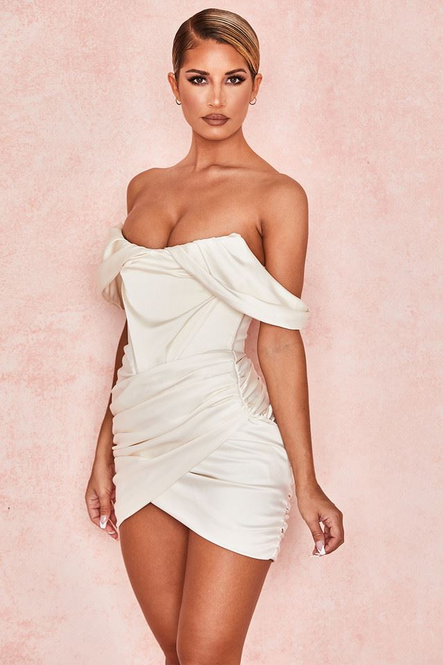 Suzanne Off-Shoulder Mini Dress - White -- Bellabarnett