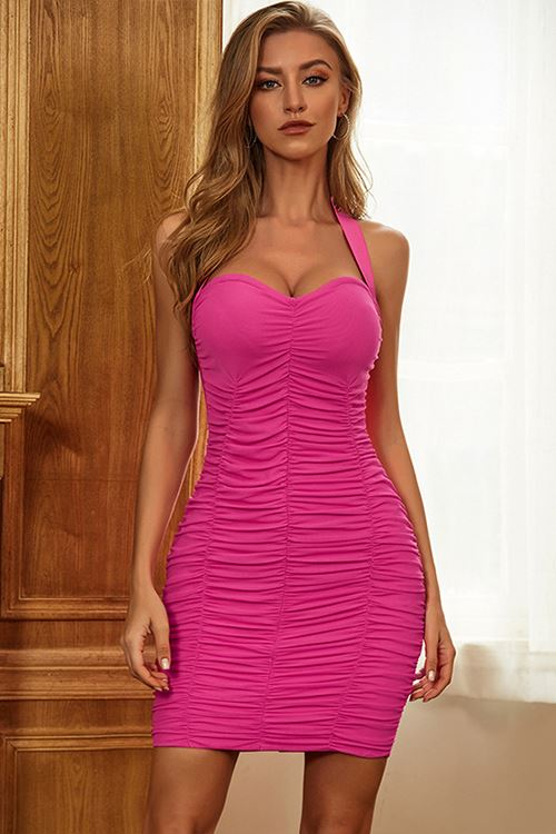 Sweet Spot Ruched Bandage Dress In Hot Pink -- Bellabarnett