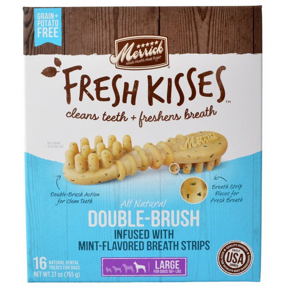 Merrick Fresh Kisses Mint Double-Brush Dental Treats - Large-Health Care-The Classic Pooch