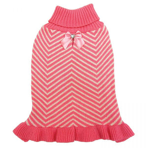 Fashion Pet Stripes & Ruffles Dog Sweater - Pink-Apparel-Fashion Pet-X-Small-The Classic Pooch