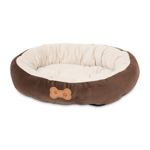 Round Bolster Bed with Bone Applique