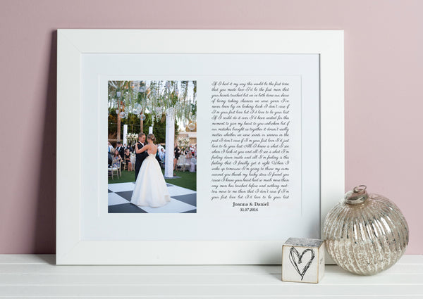 Personalised Wedding Gifts and Song Lyrics Prints