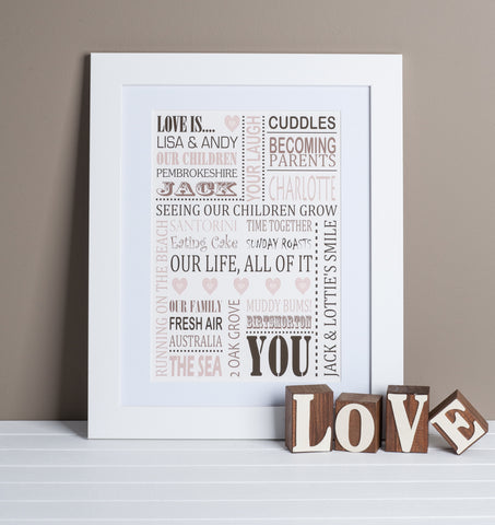 Personalised 'Love Is' Print