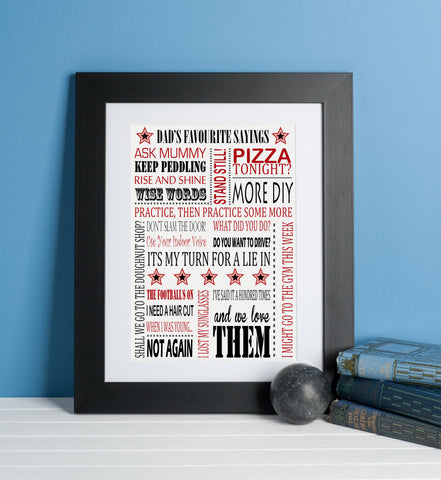 Dad's Favourite Sayings Print