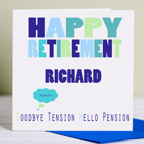 Retirement Card 'Goodbye Tension Hello Pension'