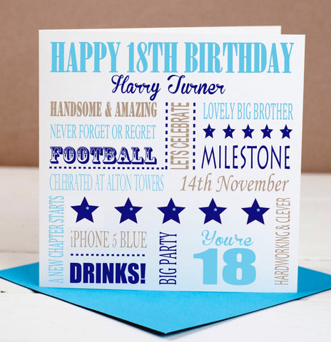 18th Birthday Milestone Card For Him