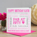 50th Birthday Word Card