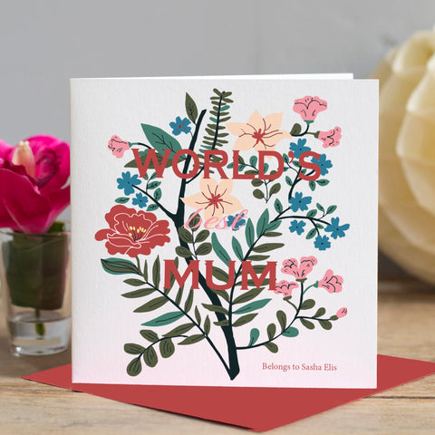 Worlds Best Mum Botanical Card